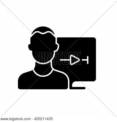Streaming Service User Account Black Glyph Icon. Watching Video Content At Home. Watching Tv Shows A