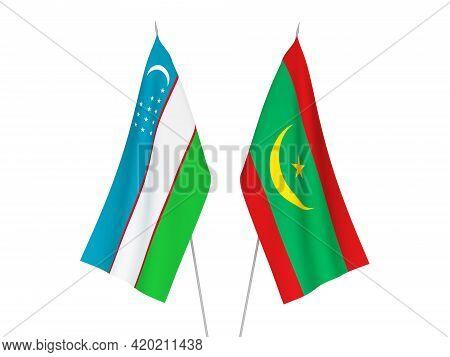 National Fabric Flags Of Uzbekistan And Islamic Republic Of Mauritania Isolated On White Background.