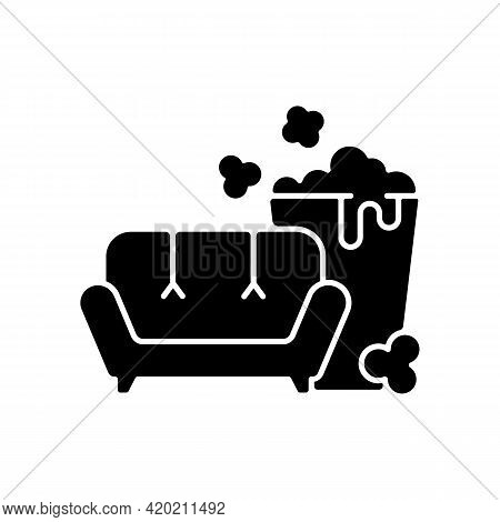 Tv Series Streaming Black Glyph Icon. Mini-series. Watching Tv With Popcorn Bucket. New Releases. Di