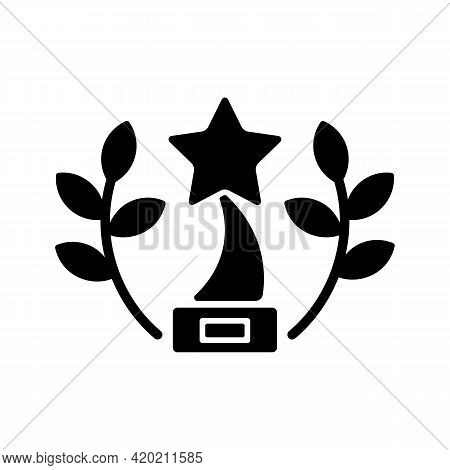 Award-winning Content Black Glyph Icon. Award-winning Movies On Video Streaming Platform. Nominated