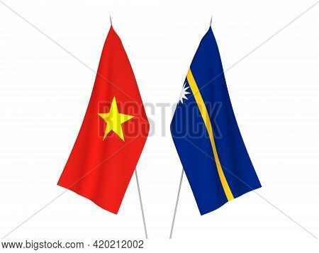 National Fabric Flags Of Vietnam And Republic Of Nauru Isolated On White Background. 3d Rendering Il