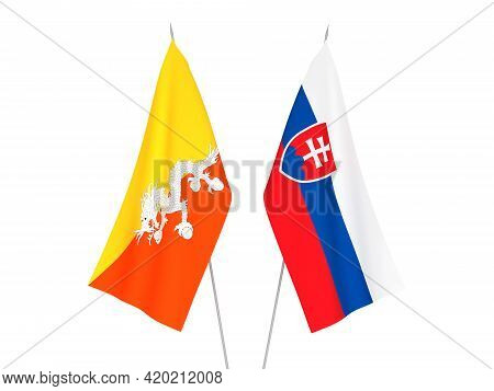 National Fabric Flags Of Kingdom Of Bhutan And Slovakia Isolated On White Background. 3d Rendering I