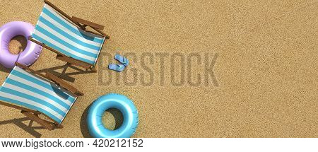 The Concept Of Summer Vacation. Top View On A Sun Lounger Under An Umbrella On The Sandy Beach, 3d R