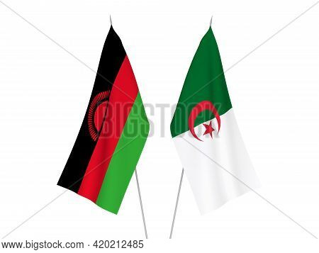 National Fabric Flags Of Algeria And Malawi Isolated On White Background. 3d Rendering Illustration.