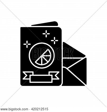 Branded Holiday Cards Black Glyph Icon. Designing Beautiful Cards To Greet Friends And Family With H