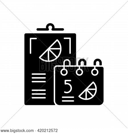 Branded Calendars Black Glyph Icon. Uniquely Designed Office Equipment. Stylish Design Of Cards With