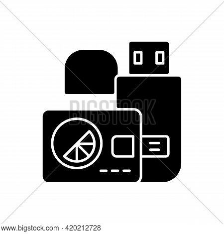 Branded Flash Cards Black Glyph Icon. Digital Card That Stores And Sends Different Information. Spec