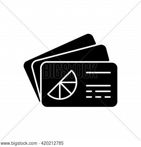 Branded Business Card Black Glyph Icon. Cards Bearing Business Information About Company. Spreading