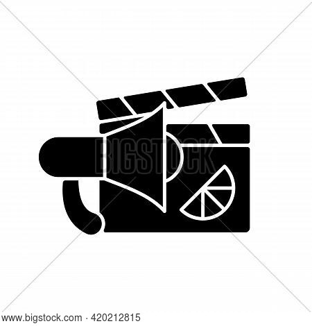 Branded Promo Video Black Glyph Icon. Specially Designed Content For Advertising Product. Designing