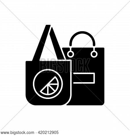 Branded Bags Black Glyph Icon. Specialy Created Clothes. Place Where Small Items Are Transported. Fa