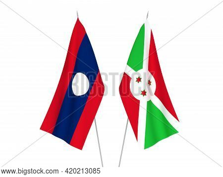 National Fabric Flags Of Laos And Burundi Isolated On White Background. 3d Rendering Illustration.