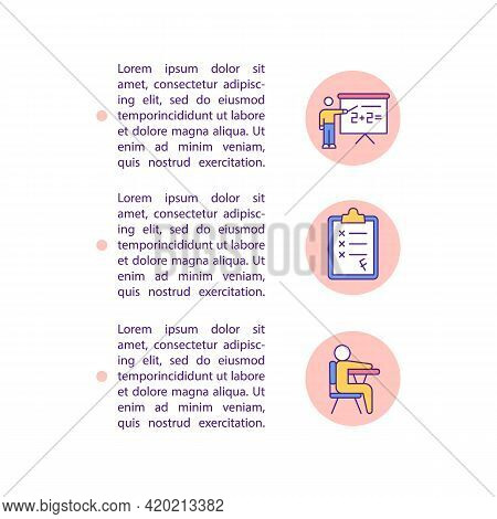 Poor Academic Performance Concept Line Icons With Text. Ppt Page Vector Template With Copy Space. Br