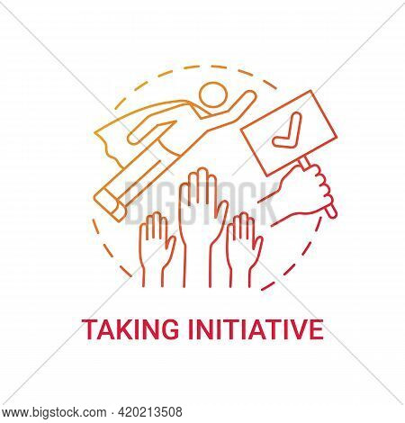 Taking Initiative Concept Icon. Initiative Skills Demonstration Idea Thin Line Illustration. Making