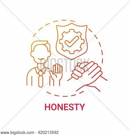 Honesty Concept Icon. Personal Value Idea Thin Line Illustration. Cordial Relations With Family Memb