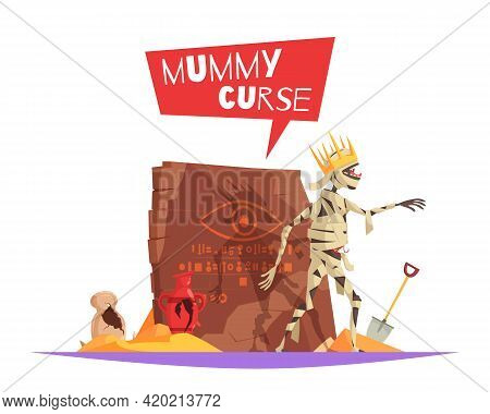 Curse Of Pharaohs Evil Character Causing Bad Luck Funny Cartoon Composition With Disturbed Mummy Wal