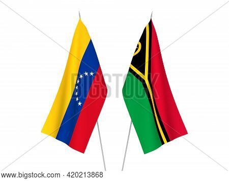 National Fabric Flags Of Republic Of Vanuatu And Venezuela Isolated On White Background. 3d Renderin