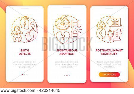 Genetic Defects Results Red Onboarding Mobile App Page Screen With Concepts. Hereditary Disease Walk