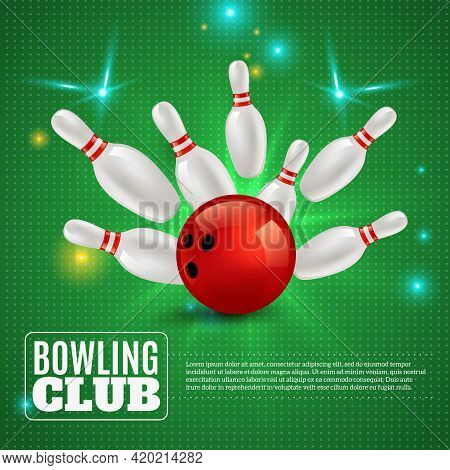 Bowling Club 3d Composition Hitting Ball On Pins On Green Background With Flashes And Sparks Vector
