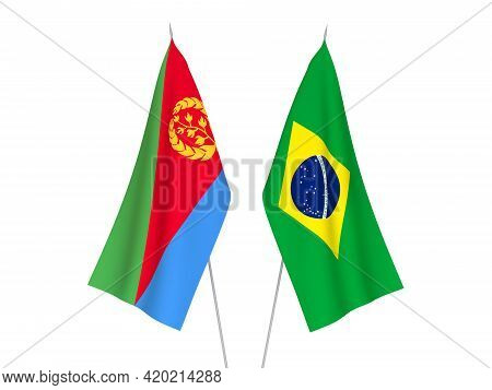 National Fabric Flags Of Brazil And Eritrea Isolated On White Background. 3d Rendering Illustration.