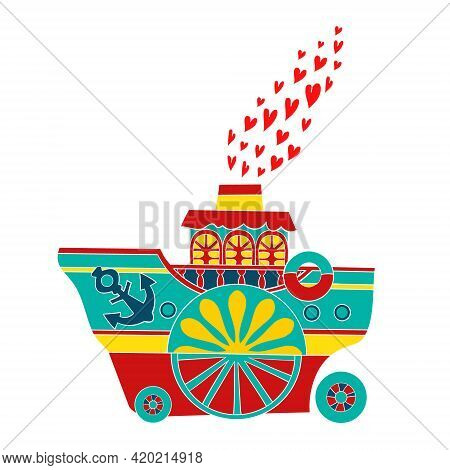 Hand-drawn Steamboat With Hearts Instead Of Steam From The Chimney. In Cartoon Style On A White Back
