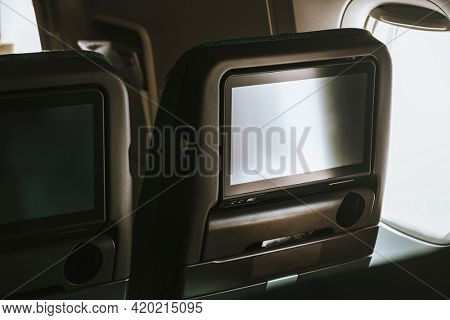 Airline in-flight entertainment TV screen