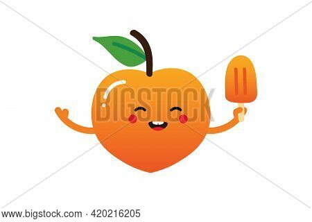 Cute Smiling Cartoon Style Peach Fruit Character Holding In Hand Peach Ice Cream, Popsicle.