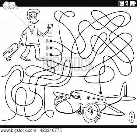 Black And White Cartoon Illustration Of Lines Maze Puzzle Game With Man With Ticket And Suitcase Rea
