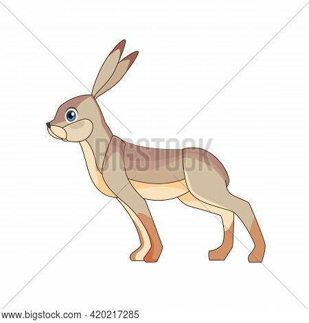 The European Hare, Also Known As The Brown Hare, Standing. Gray Fluffy Fur, Long Ears, Big Blue Eyes