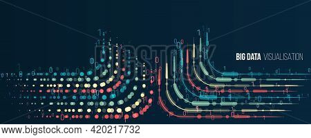 Big Data Visualization Banne. Abstract Background With Lines Array And Binary Code. Connection Struc