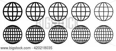 Globe Icon Set. Web Globe Flat Linear Icons. Silhouette Of The Globe With Meridians. Vector Elements
