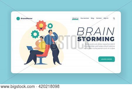 Brain Storming Landing Page Website Banner Template. Two Businessmen Sharing Thoughts And Ideas. Bra