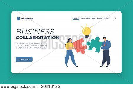 Business Collaboration Landing Page Website Banner Template. Teamwork, Cooperation, Partnership. Fem
