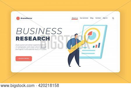 Business Research Landing Page Banner Template. Male Cartoon Character Stands In Front Of Whiteboard