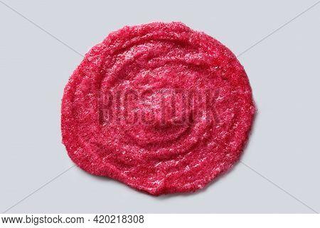 Circular Smear Of Exfoliating Scrub With Berry And Sugar. Close-up