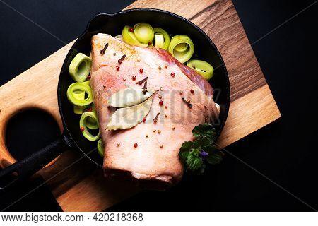 Food Concept Farm Fresh Organic Pork Hock Ot Pork Knuckle On Wooden Board On Black Background With C