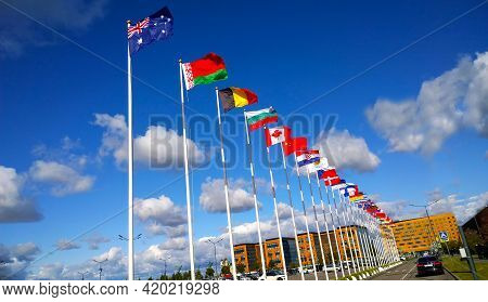 St. Petersburg, Russia - September, 2019: Flags Of Australia, Belarus, Belgium, Bulgaria, Canada, Ch