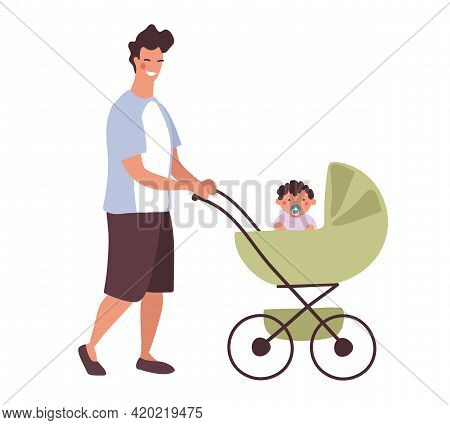 A Young Daddy Walks With A Baby In A Stroller. A Man With A Newborn Son On A Walk In A Baby Carriage