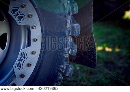 4x4 Off-road Car Wheels On Grass. Off-road Tire