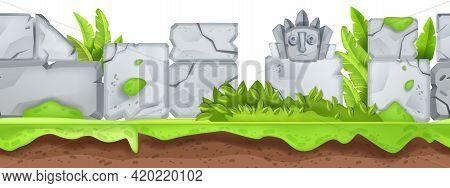 Seamless Game Landscape, Jungle Maya Stone Totem, Ancient Ruin Background, Green Leaf, Bushes. Natur
