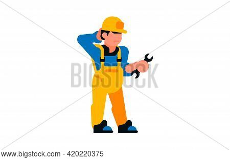 Thoughtful Worker Holding A Wrench In His Hands. Builder And Wrench. Vector Illustration Isolated On