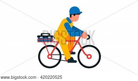 Worker Riding A Bicycle. Male Builder And Bike, Toolbox. Vector Illustration Isolated On White Backg