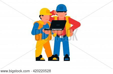 Men Construction Workers And Laptop, Computer. Vector Illustration Isolated On White Background