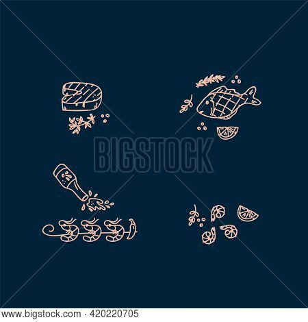 Collection Of Icons Of The Sea Food Menu. Doodle-style Illustrations Of Fish, Shrimp, Octopus, Clams
