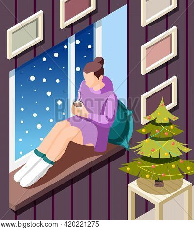 Cozy Winter Isometric Background With Young Woman Sitting On Windowsill Warming Up With Hot Cocoa At