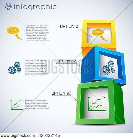 Infographics With 3d Composition From Cubes With Information Icons Inside On White Background Vector