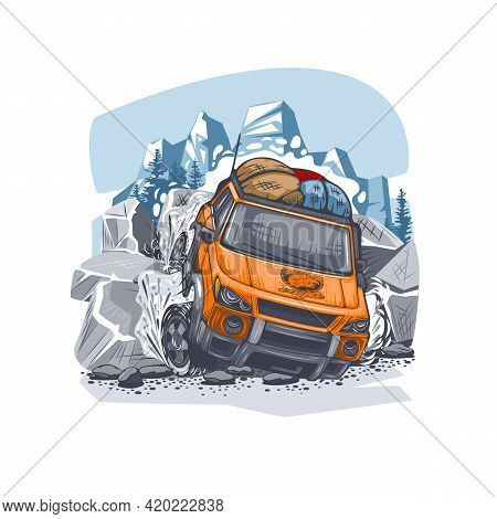 Orange Suv Overcomes Difficult Obstacles In The Mountains With Luggage On The Roof. Can Be Printed O