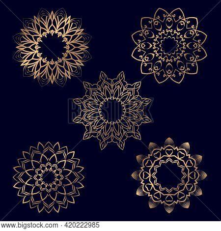 Set Of Ornament Round Mandalas For Coloring Book. Geometric Circle Decorative Round Mandalas. Anti-s
