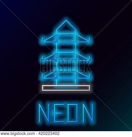 Glowing Neon Line Electric Tower Used To Support An Overhead Power Line Icon Isolated On Black Backg