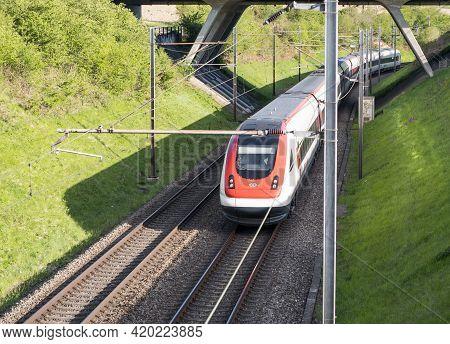Niederbipp, Switzerland - 8. May 2021: Swiss Tilting Train Sbb Icn Rabde 500 View From Above