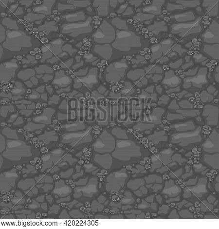 Ground Seamless Pattern, Gray Soil With Stones Texture For Game Ui.